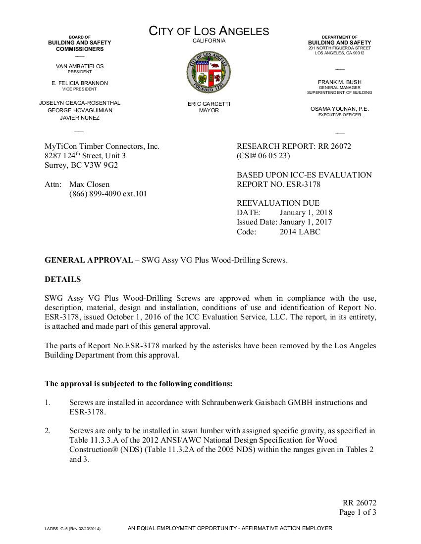 LA Research Report (LARR): RR 26072