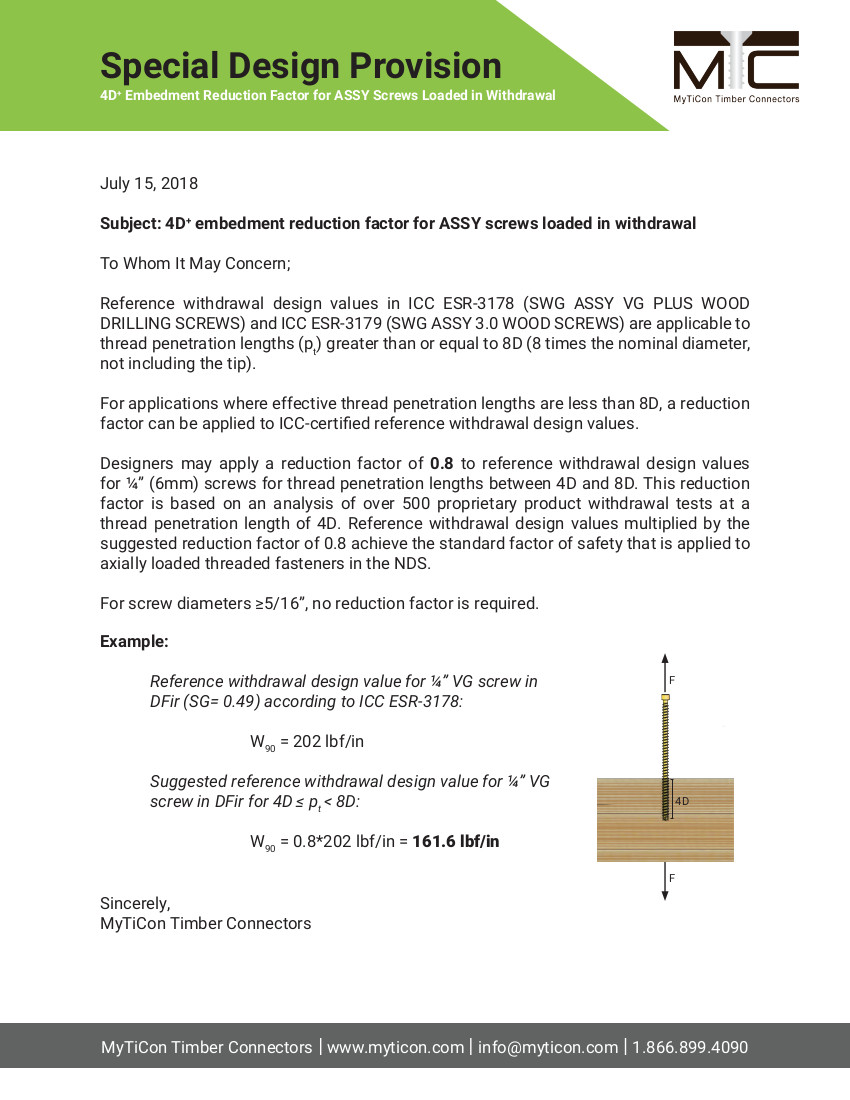 4D+ Embedment Reduction Factor for Screws Loaded in Withdrawal