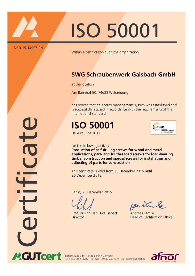 Screws ISO 50001
