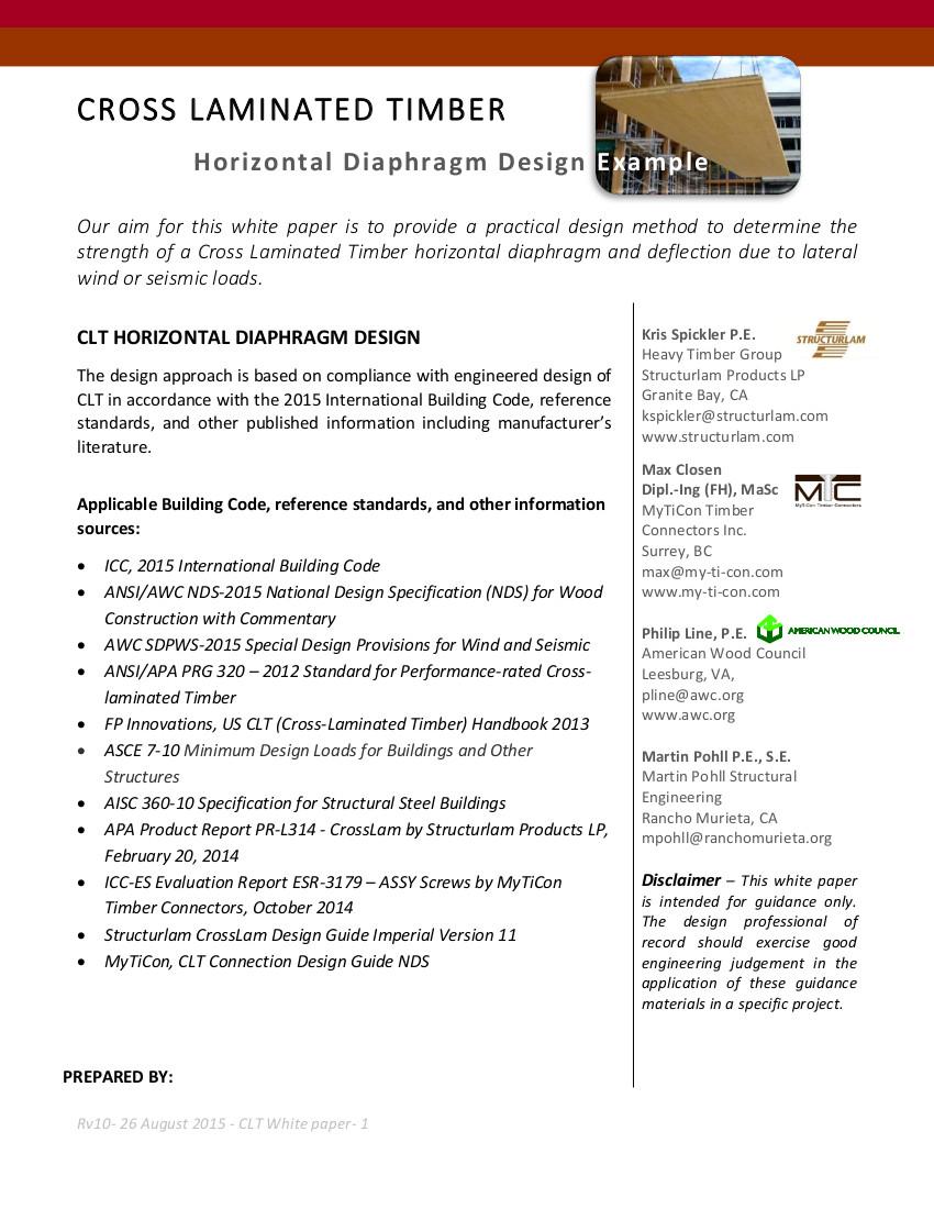 CLT Horizontal Diaphragm Design Example