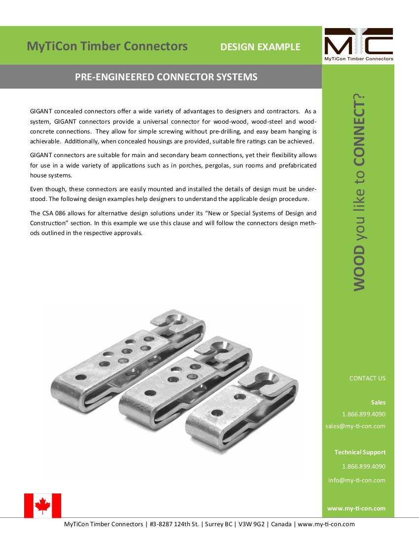GIGANT Pre-engineered Connector Design Example