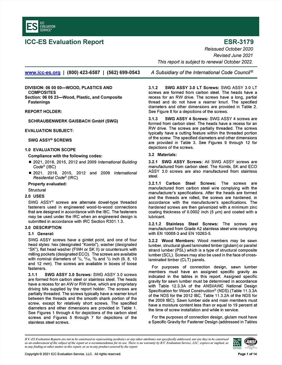 ICC Code Approval ESR-3179 for Partially Threaded Fasteners – 2021 Edition (August)