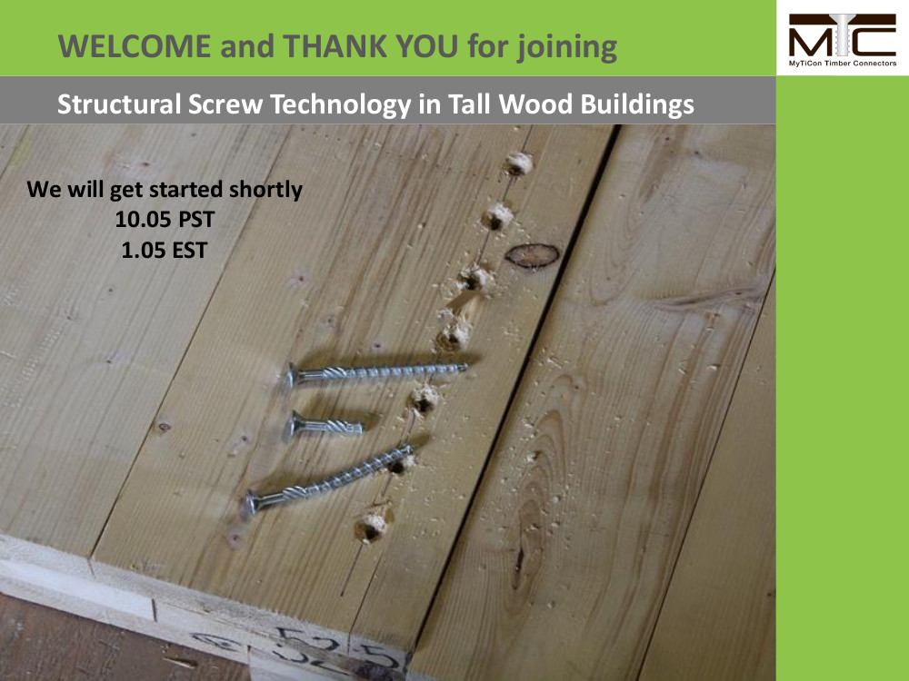 Structural Screw Technology in Tall Wood Buildings Webinar