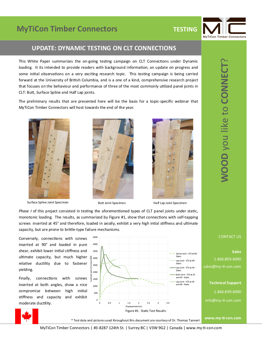 Overview of Dynamic Testing Campaign on CLT Connections