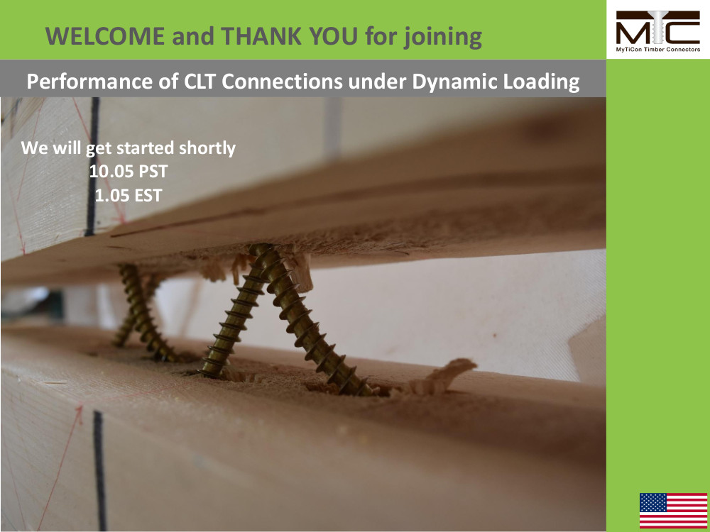 CLT Connections under Dynamic Loading Webinar – USA