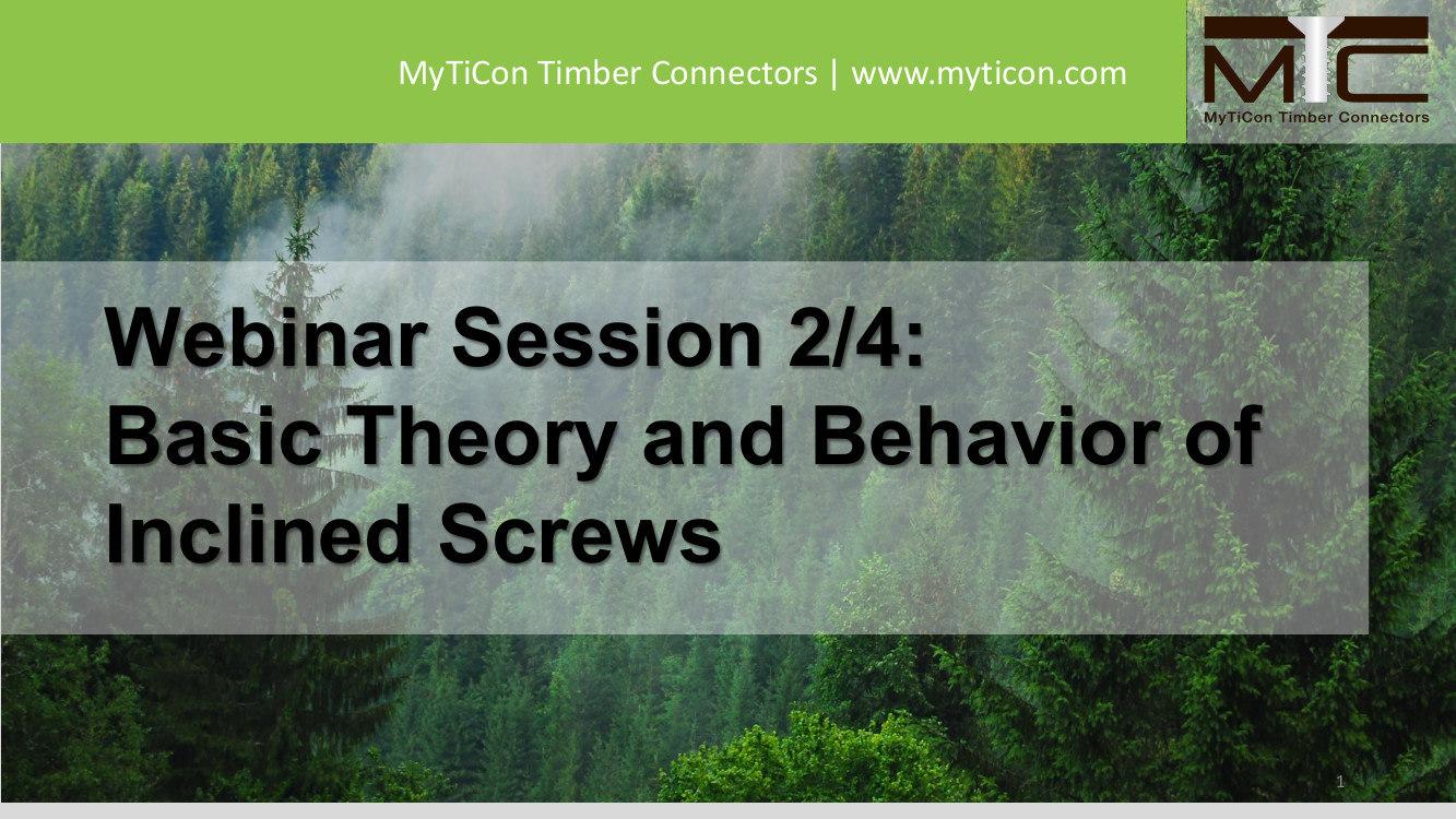 Basic Theory and Behavior of Inclined Screws Webinar