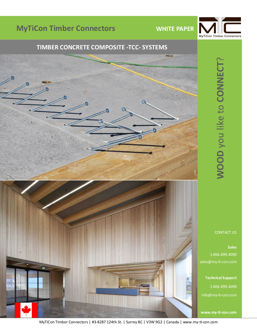 Designing Timber Concrete Composite Systems  Tcc  With Assy Self-tapping Screws