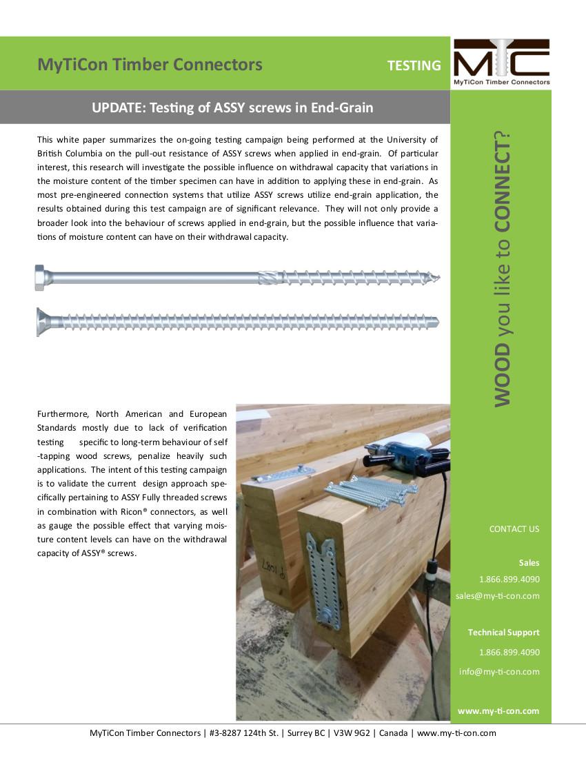 Testing of Screws in End-Grain