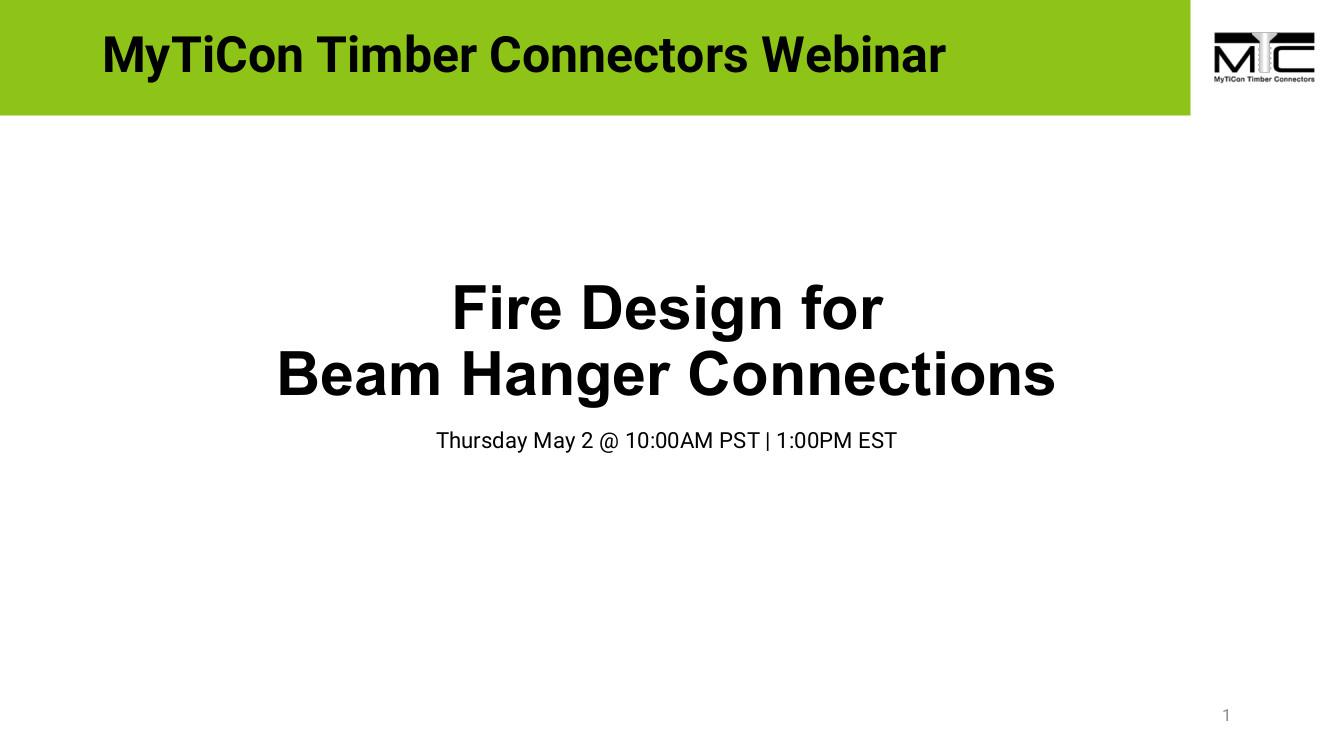 Fire Design for Beam Hanger Connections Webinar